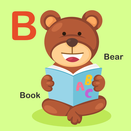 vocabulary: Illustration Isolated Animal Alphabet Letter B-Bear,Book.Vector Illustration