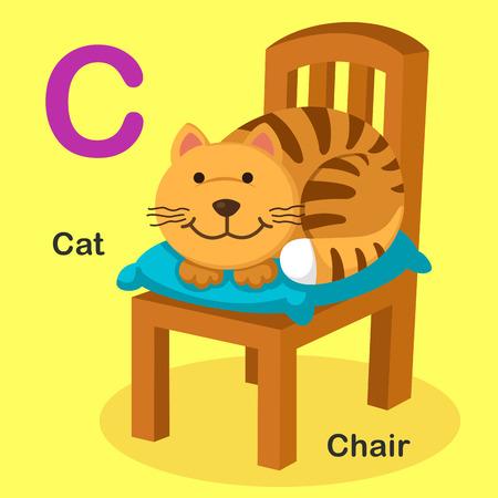 chair cartoon: Illustration Isolated Animal Alphabet Letter C-Cat,Chair.Vector Illustration
