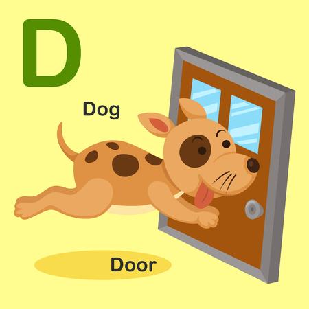 door to door: Illustration Isolated Animal Alphabet Letter D-Dog,Door.Vector Illustration