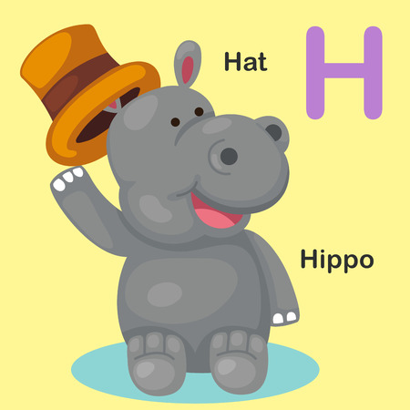 animal alphabet: Illustration Isolated Animal Alphabet Letter H-Hat,Hippo.Vector