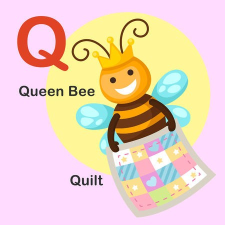 kid cartoon: Illustration Isolated Animal Alphabet Letter Q-Quilt,Queen bee.Vector