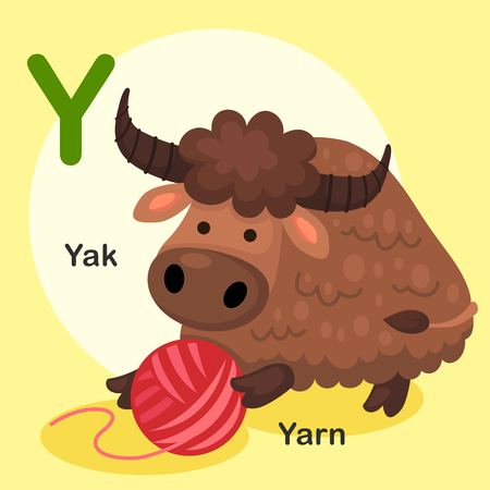 yarn guide: Illustration Isolated Animal Alphabet Letter Y-Yak,Yarn.Vector