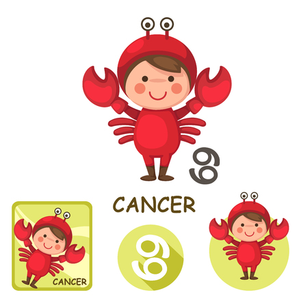 Illustration of isolated cancer vector collection. zodiac signs