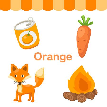 infancia: Ilustración de fondo de color naranja grupo de vectores