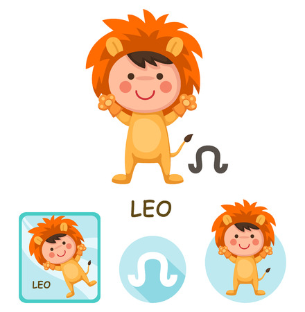 cartoon earth: Illustration of isolated leo vector collection. zodiac signs
