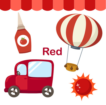 early learning: Illustration of isolated color red group vector