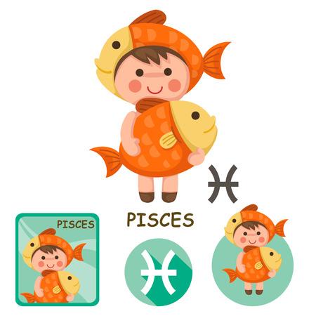 Illustrazione di vettore di raccolta isolato Pesci. segni zodiacali