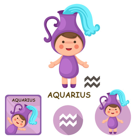 zodiacal signs: Illustration of isolated aquarius vector collection. zodiac signs