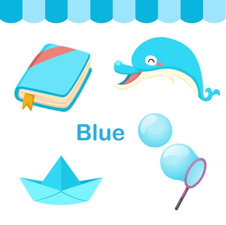 infancia: Ilustración de fondo de color azul grupo vectorial