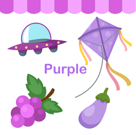 early learning: Illustration of isolated color purple group vector