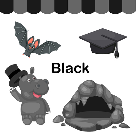 early education: Illustration of isolated color black group