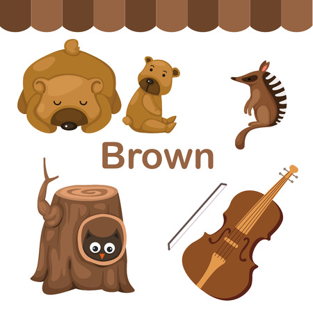 early: Illustration of isolated color brown group