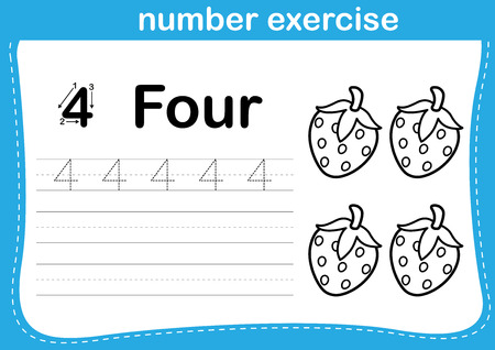 spelling: number exercise with cartoon coloring book illustration Illustration