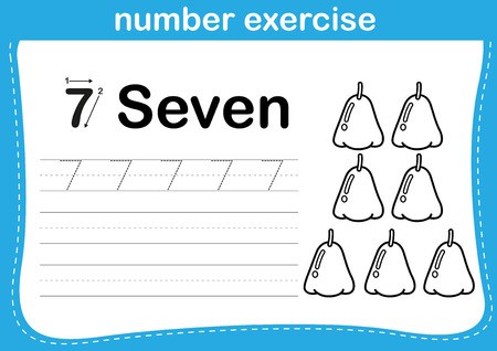 practice: number exercise with cartoon coloring book illustration Illustration