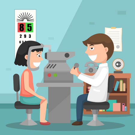 optometrist: Doctor performing physical examination illustration