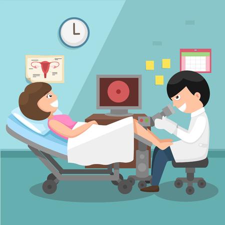 医師、婦人科診察図を実行します。