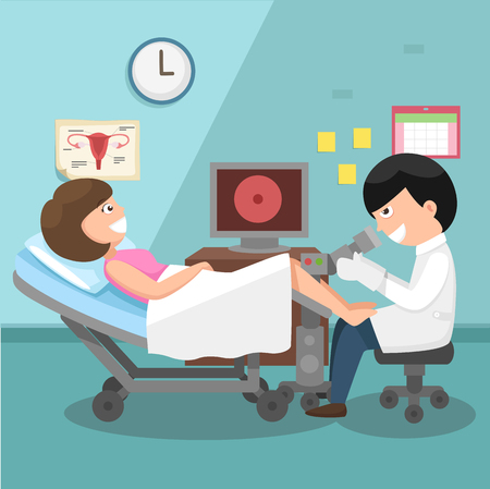 Doctor, gynecologist performing physical examination illustration