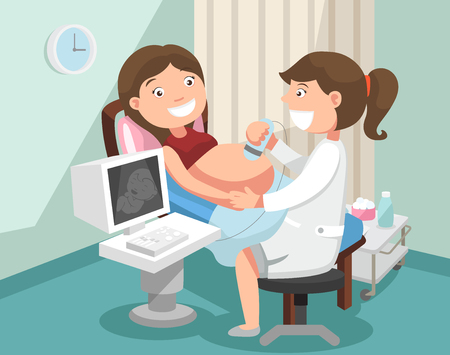 jeune femme enceinte à l'échographie, check.illustration de santé