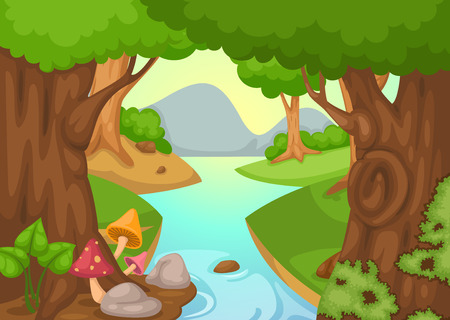non   urban scene: illustration of forest with a river background
