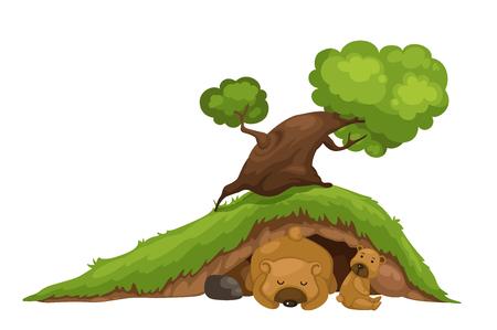 ilustración de oso durmiendo en la cueva Ilustración de vector