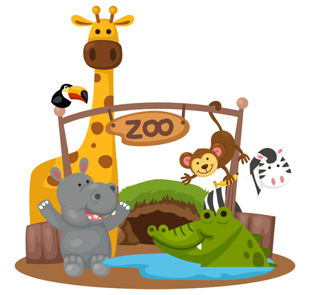 friends happy: illustration of isolated animal zoo