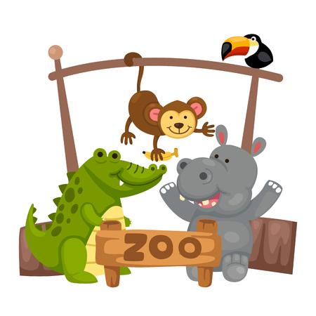zoo: illustration of isolated animal zoo