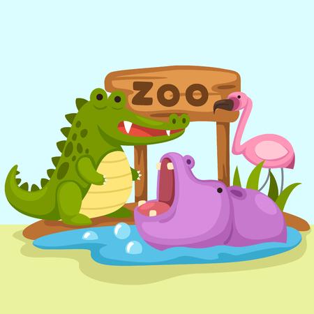 ilustracja pojedyncze zoo zwierząt