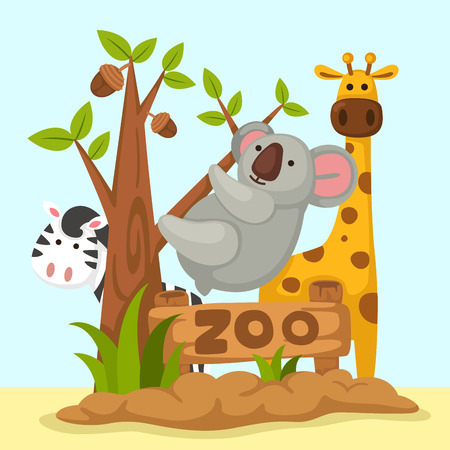 zoo animals: illustration of isolated animal zoo