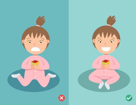 右と間違った方法停止 W 座っている位置 (安全のため内部の大腿骨のねじれ) の子供のための位置を座っています。