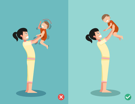 cuddling: never shake a baby,right and wrong ways for playing with the baby.