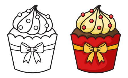 dessin au trait: illustration de petit gâteau isolé