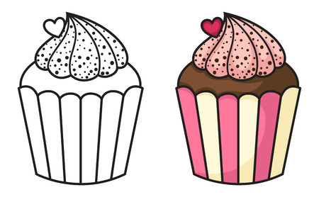 chocolate cupcake: illustration of isolated cupcake Illustration