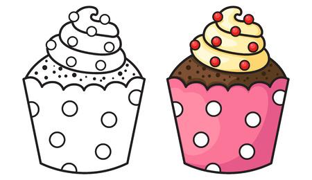 fruit cartoon: illustration of isolated cupcake Illustration