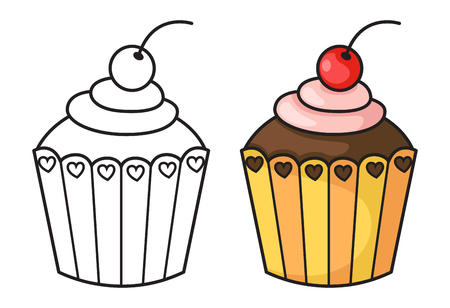 eat cartoon: illustration of isolated cupcake vector
