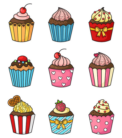cartoon strawberry: illustration of isolated cupcake set