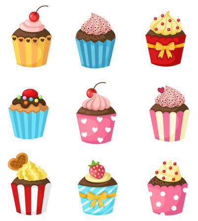 illustration of isolated cupcake set
