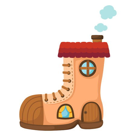 small town life: Illustration of isolated shoe house.vector Illustration
