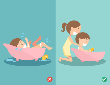 child: Right and wrong ways for bathing your baby safely, Never ever leave your child alone in the bath.vector illustration Illustration