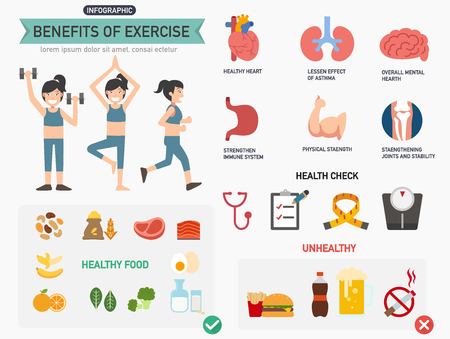 Benefits of exercise infographics.vector illustration. 矢量图像