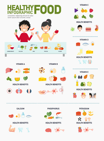 Healthy food infographics.vector illustration. Imagens - 53171998