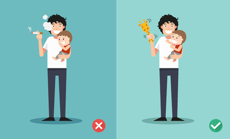 no person: Stop smoking for children, wrong and right for no smoking .vector illustration.