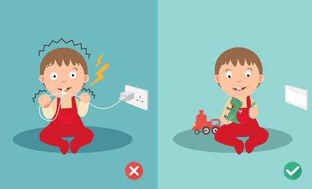 間違っていると右の安全性電気ショックのリスク。ベクトル イラスト。