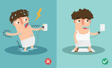 electric shock: incorrecta y derecha para riesgo de seguridad descarga eléctrica. ilustración vectorial.