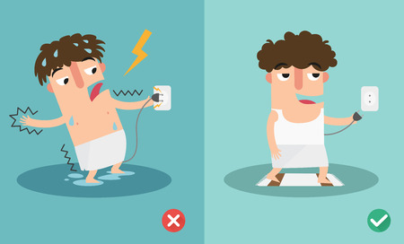 electrocution: wrong and right for safety electric shock risk. vector illustration.