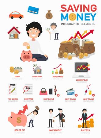 accounting design: Saving money info graphics. Illustration