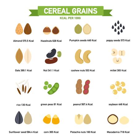 avena: kilo calorías en los granos de cereal por cada 100 gramos de información gráfica.