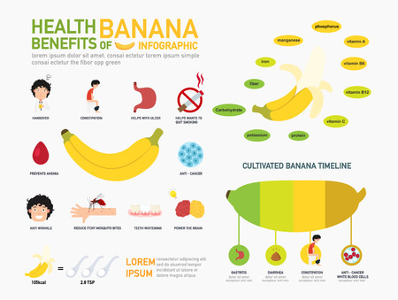 antioxidant: Health benefits of banana infographics.illustration.