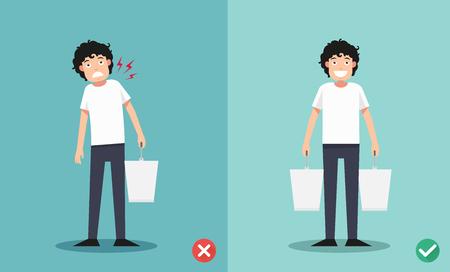 Improper versus against proper lifting ,illustration  イラスト・ベクター素材