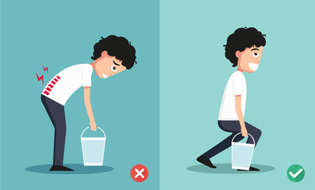bad boy: Improper versus against proper lifting ,illustration Illustration