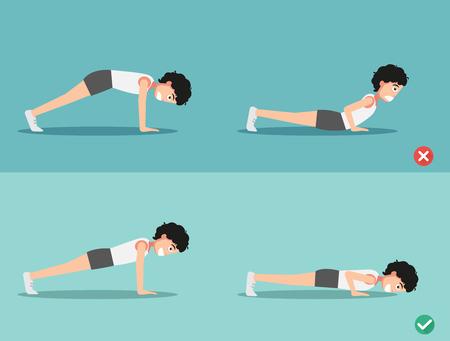 wrong: wrong and right push-up posture